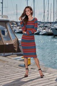 Kobieca ołówkowa sweterkowa sukienka LS224 jeans-rudy-jasnoszar<br />y