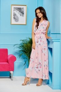 Sukienka maxi z kopertowym dekoltem L304 pudrowy róż