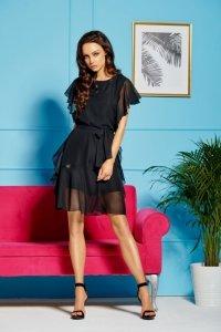 Sukienka z szyfonem i falbankami L303 czarny