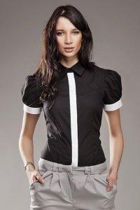 Czarna koszula NEGATYW z krótkim rękwem - K33