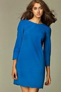 Delikatna niebieska sukienka z zamkiem na plecach - S28