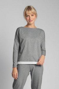 LA040 Bluzka od piżamy z koronkowym brzegiem - szary