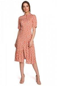 S263 Sukienka ze stójką i falbaną na dole - łososiowa