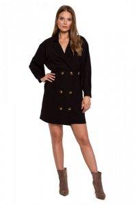 K112 Sukienka dwurzędowa z kieszeniami - czarna