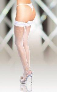 Stockings 5539 - white pończochy kabaretki ze szwem