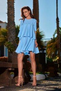 Rozkloszowana sukienka z falbanką  L238 błękitny