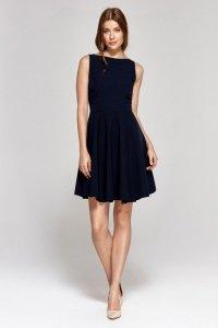 Sukienka z rozkloszowanym dołem - granat - CS13