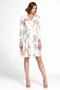 Sukienka z zakładkami - kwiaty/ecru - S109