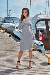 Kobieca ołówkowa sweterkowa sukienka LS224 jasnoszary