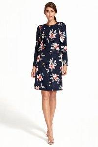 Sukienka z pionową falbaną - kwiaty/granat - S110