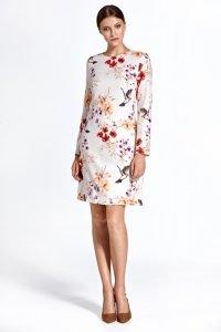 Sukienka cs25 - wzór/ecru - CS25
