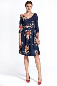 Sukienka cs27 - kwiaty/granat - CS27
