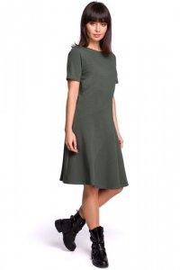 B105 Sukienka lekko rozkloszowana z godetem - khaki
