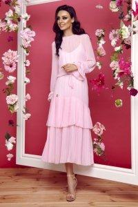 Sukienka w stylu boho midi L294 pudrowy róż