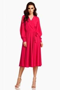 Sukienka z długimi rozciętymi rękawami L295 malina
