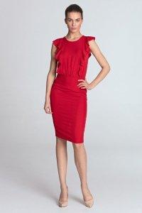 Sukienka ołówkowa z pionowymi falbanami - czerwony - S111