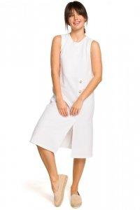 B115 Sukienka midi bez rękawów - biała