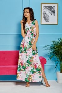 Sukienka maxi z kopertowym dekoltem L304 biały