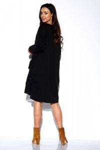 Prosta sukienka z długim rękawem i marszczeniem LN114 czarny