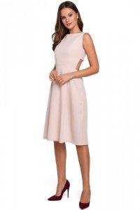 K011 Sukienka z odkrytymi plecami - beżowa