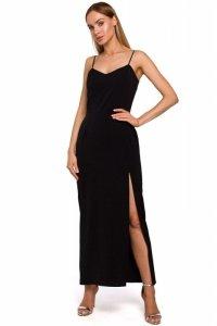 M485 Sukienka maxi na cienkich ramiączkach - czarna
