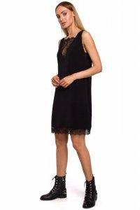M488 Sukienka z koronkową wstawką z przodu i z tyłu - czarna