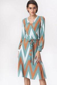 Rozkloszowana turkusowa sukienka midi w zygzak - S136