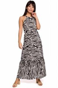 B158 Sukienka maxi z nadrukiem i wiązaniem przy szyi - biała
