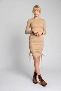 LA039 Bawełniana sukienka z szianiny prążkowanej - cappuccino
