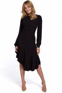 K077 Asymetryczna sukienka z falbanką - czarna