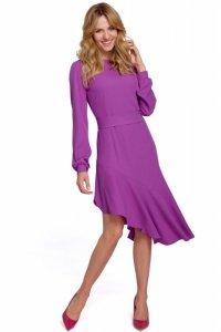 K077 Asymetryczna sukienka z falbanką - lawendowa