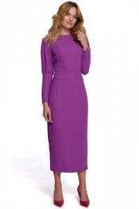 K079 Sukienka midi z wysokimi mankietami - lawendowa
