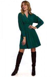 K087 Sukienka z rozkloszowanymi zakładkami - zielona