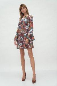 Sukienka z falbaną w kwiaty - S175