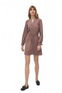 Wiskozowa sukienka wiązana w talii w kolorze mocca - S171