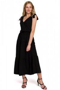 K092 Sukienka z wiązanymi ramiączkami - czarna