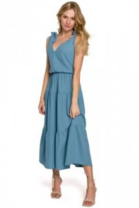 K092 Sukienka z wiązanymi ramiączkami - zimny niebieski