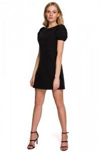 K095 Sukienka mini z krótkimi rękawkami - czarna