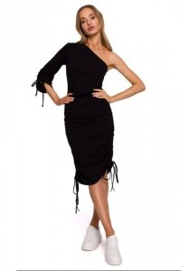 M580 Sukienka na jedno ramię - czarna