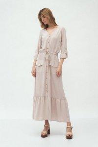 Długa beżowa sukienka z kieszeniami - S174