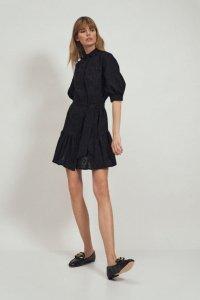 Bawełniana czarna sukienka z falbaną - S169