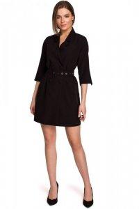 S254 Sukienka żakietowa z paskiem - czarna