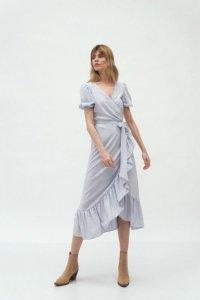 Szara kopertowa sukienka w stylu boho - S165