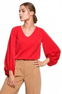 S272 Bluzka z szerokimi rękawami i dekoltem - czerwona