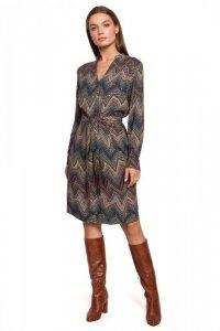 S287 Sukienka z wiązaniem w azteckie wzory - model 2