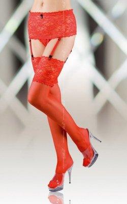 Stockings 5512 - red pończochy z pasem