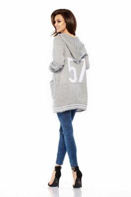 LS210 Luźny casualowy sweter narzutka jasnoszary