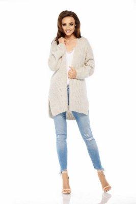 LS211 Prosty, ciepły sweter narzutka beżowy