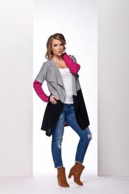 LS160 trójkolorowy sweter jasnoszary-fuksja-czarny