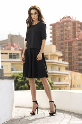 Rozkloszowana sukienka L237 czarny